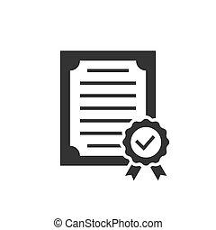 icona, fondo, certificato, nero, approvato, bianco
