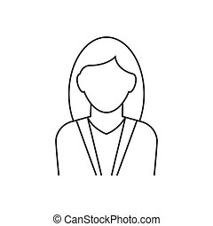 icona, fondo, linea bianca, avatar, donna d'affari
