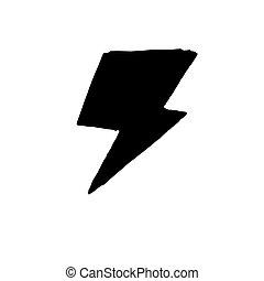 icona, fondo., mano, bianco, isolato, disegnato, stile, lampo