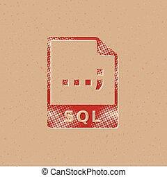 icona, formato, -, file, halftone, sql