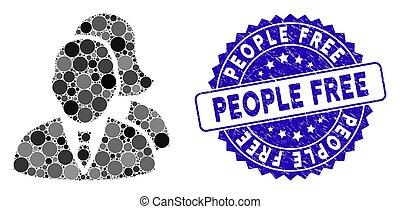 icona, francobollo, mosaico, persone, libero, graffiato