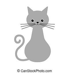 icona, gatto, isolato, fondo., simbolo, monocromatico, vettore, stile, illustration., casato, bianco