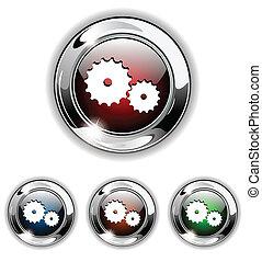 icona, illustrat, vettore, ingranaggio, bottone