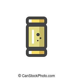 icona, illustration., cartone animato, shell., fucile caccia...