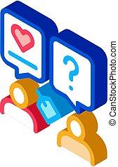 icona, illustrazione, discutere, isometrico, umano, vettore