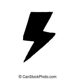 icona, isolato, bianco, fondo., disegnato, mano, stile, lampo
