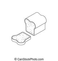 icona, isometrico, bread, stile, 3d
