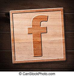 icona, legno, facebook