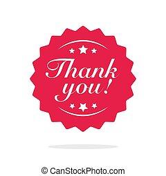 icona, lei, testo, isolato, francobollo, o, vettore, rosso, simbolo, appartamento, rosetta, moderno, ringraziamento, ringraziare, distintivo, clipart, etichetta