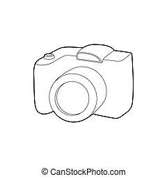 icona, macchina fotografica slr, stile, contorno