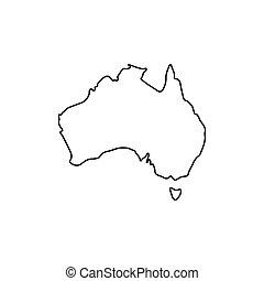 icona, mappa, stile, australia, contorno