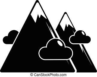 icona, montagne, stile, nero, semplice