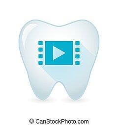 icona, multimedia, dente, segno