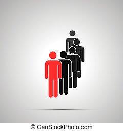 icona, nero, gruppo, condottiero, rosso, semplice, uggia, silhouette, lavorante, grigio, parecchi