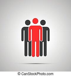 icona, nero, gruppo, condottiero, tre, semplice, uggia, silhouette, lavorante, grigio