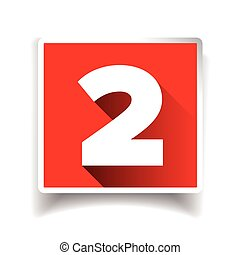 icona, numero, o, due, etichetta