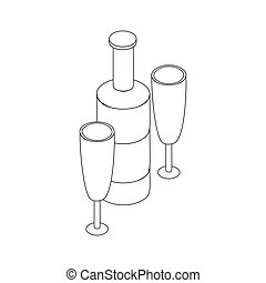 icona, occhiali, due, bottiglia, vino