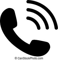 icona, onde, telefono, nero
