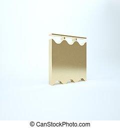 icona, oro, render, illustrazione, isolato, fondo., tenda, 3d, bianco