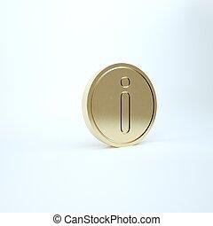 icona, oro, render, informazioni, isolato, illustrazione, fondo., 3d, bianco