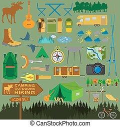 icona, outdoors., andando gita, set, campeggio