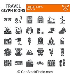 icona, pacchetto, set, viaggiare, collezione, isolato, disegni, simboli, solido, vettore, fondo., pictograms, segni, logotipo, bianco, vacanza, turismo, illustrazioni, glyph
