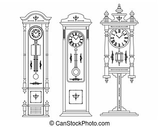 icona, pavimento, orologio