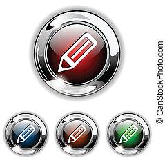 icona, penna, illustrati, vettore, bottone