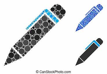 icona, penna, punti, mosaico, cerchio