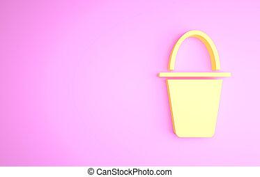 icona, pesca, bucket., secchio, concept., illustrazione, minimalismo, 3d, giallo, isolato, fondo., rosa, fish, render