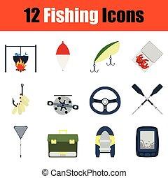 icona, pesca, set
