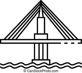 icona, ponte, stile, contorno, cavo