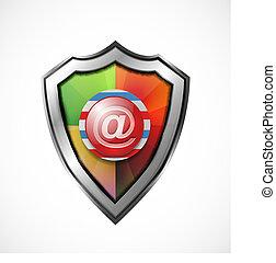 icona, protezione, scudo, /, email