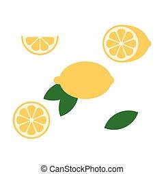 icona, ramo, frutte, vettore, fetta limone