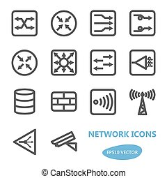 icona, rete, set, congegni