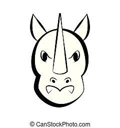icona, rinoceronte, contorno, isolato