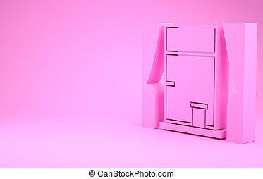 icona, rosa, concept., render, finestra, stanza, fondo., tenda, minimalismo, illustrazione, isolato, 3d
