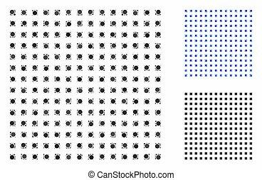 icona, rotondo, quadrato, mosaico, regolare, punti