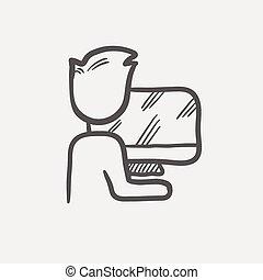 icona, schizzo, computer, lavorativo, uomo