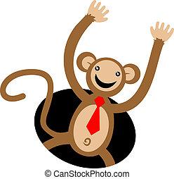 icona, scimmia, felice