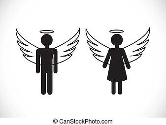 icona, segno, angelo, pictogram, simbolo