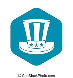 icona, semplice, americano, cappello, stile