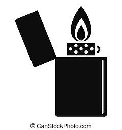 icona, semplice, stile, accendino