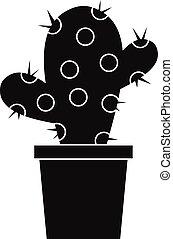 icona, semplice, stile, cactus
