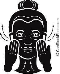 icona, semplice, stile, massaggio facciale