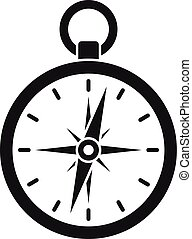 icona, semplice, stile, metallo, bussola