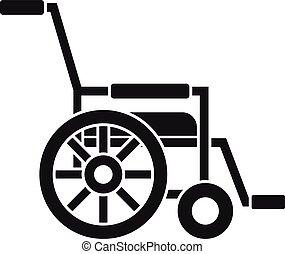 icona, semplice, stile, mobilità, carrozzella
