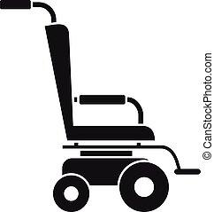 icona, semplice, stile, scooter, carrozzella