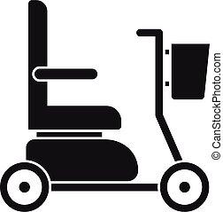 icona, semplice, stile, sedia rotelle elettrica