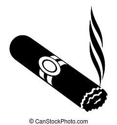 icona, semplice, stile, sigaro, nero